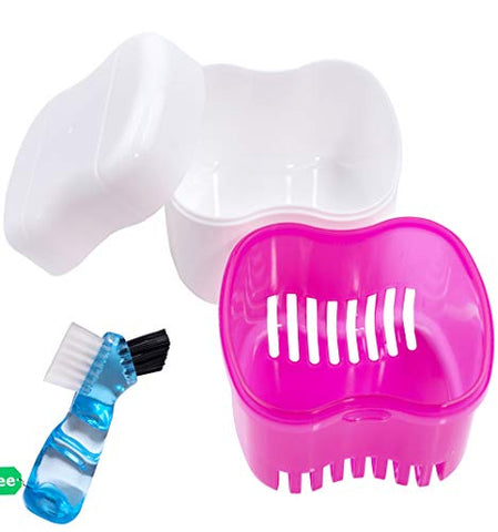 Denture Brush Retainer Case, Denture Case,Denture Cups Bath,Dentures Container with Basket Denture Holder for Travel,Mouth Guard Night Gum Retainer Container (pink)