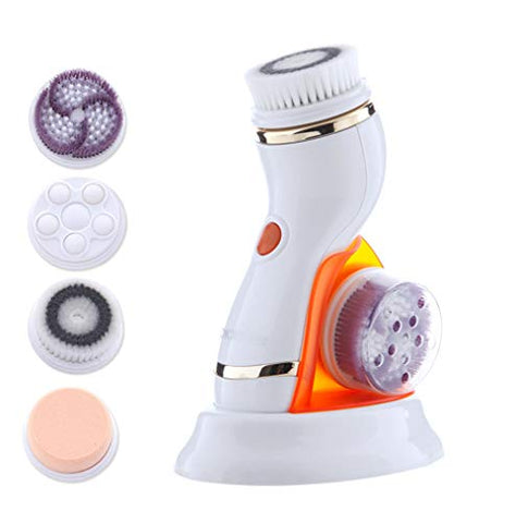 Wanforjewellery Electric Facial Cleansing Brush, Rechargeable Rotating Face Scrubber Ion Technology Deep Cleansing, Gentle Exfoliating, Removing Blackhead for Face,Orange