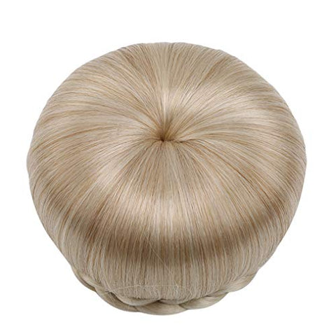 Cngstar 1 Pc Simple DIY Bun Braided Synthetic Hair Toupee Ready To Wear Bun That Can Be Combed In A High Knot Or Bun Down ?Beige)