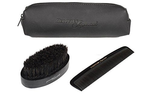 Hercules Sã¤Gemann Beard Grooming Set   2 Piece Kit: Boar Bristle Brush & Ebonite Comb Set In A Trav