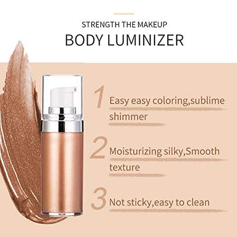 Filfeel Liquid Highlighter, 20ml Shimmer Body Cream for Face Lips Shoulder Leg Skin, Layered with Foundation, Lotion, Primer for Dimension and Glow(1#)