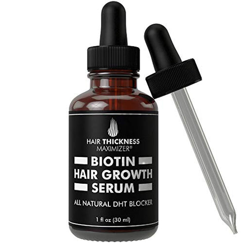 Biotin Hair Growth Serum By Hair Thickness Maximizer. Dht Blocker Oil For Hair Loss, Dry, Damaged, H