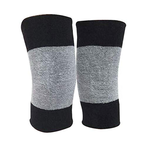 Healifty Elastic Knee pad Knee Support Elastic Weave Sleeves Kneecap Thicken Warm Kneepad for Sports Cycling (Black and Grey)
