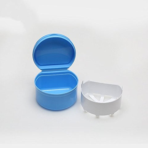 WSERE False Tooth Denture Box Retainer Case Holder Dental Teeth Denture Bath Cup Leak-Proof Storage Organizer Container with Basket, Full Protection