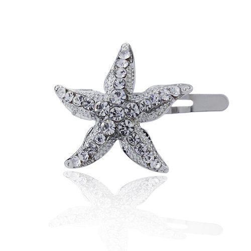 Double Accent Hair Jewelry White Austrian Crystals Rhinestone Starfish Magnetic Barrette, White