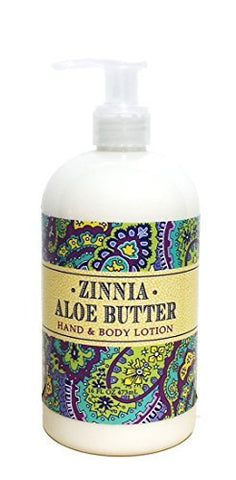 Greenwich Bay ZINNIA ALOE BUTTER Hand & Body Lotion Enriched with Shea Butter and Cocoa Butter 16 oz