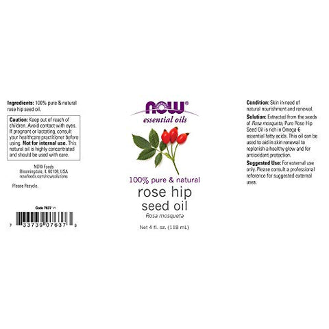 Now Essential Oils, Rose Hip Seed Oil, 100% Pure, Nourishing and Renewing, for Facial Care, Vegan, 4-Ounce