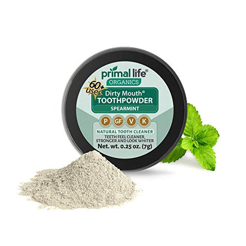 Dirty Mouth Tooth Powder for Teeth Whitening, Toothpaste Powder Teeth Whitener with Essential Oils and Bentonite Clay, 60 uses, Spearmint Flavor (.25 oz) - Primal Life Organics
