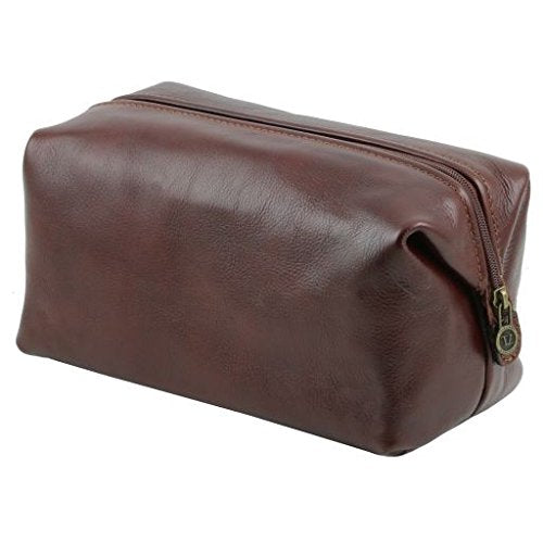 Tuscany Leather Smarty Leather toilet bag - Large size Dark Brown