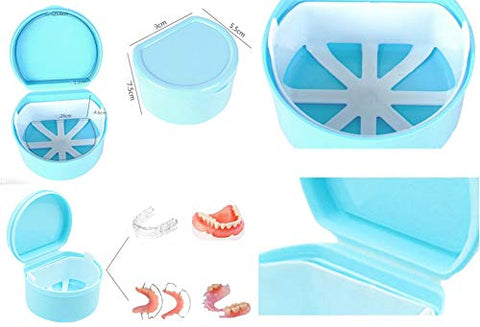 Denture Case Portable False Teeth Storage Box Orthodontics case Denture Container Holder #4