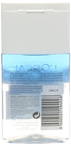 L'Oreal De-maq expert Absolute Eye & Lip Make-up Remover, 125ml