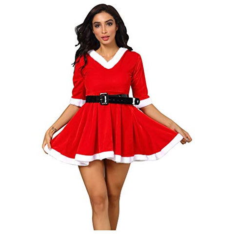 jin?Co Christmas Dresses for Women V-Neck Half Sleeve Hooded Mini Dress Xmas Santa Cosplay Prom Party Dress with Belt S-3XL Red