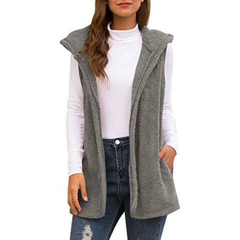 Xinantime Womens Hooded Faux Fur Cardigan Fluffly Vintage Shaggy Vest Jacket Long Coat (Gray,XXL)