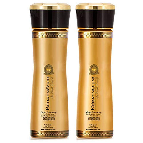Keratin Cure 0% Formaldehyde Bio-Brazilian Hair Treatment- #1 and #2 Touch Up 2 Time Gold & Honey 2 piece kit 160ml / 5.41 fl oz
