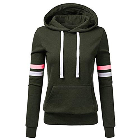 Xinantime Womens Casual Stripe Sweatshirt Long Sleeve Blouse Hooded Pocket Pullover Tops Shirt (Green,XXXL)