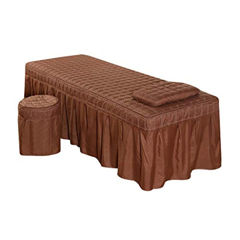 joyMerit Massage Table Sheet Set - Soft Facial Bed Cover - Includes Flat and Fitted Sheets with Face Cradle Cover - Coffee