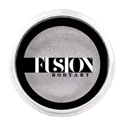 Fusion Body Art Pro Face Paint | Pearl Metallic Silver (32gm), Professional Quality Water Activated Shimmery Face and Body Paint Supplies Single Metallic Makeup Cake Hypoallergenic, Non-Toxic, Safe