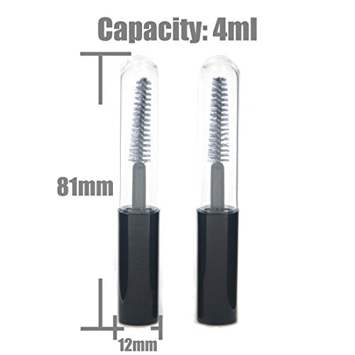 AngelaKerry 20pcs 4ml Empty Mascara Tube Eyelash Cream Reusable Bottle Vials Makeup Tool Black Cap
