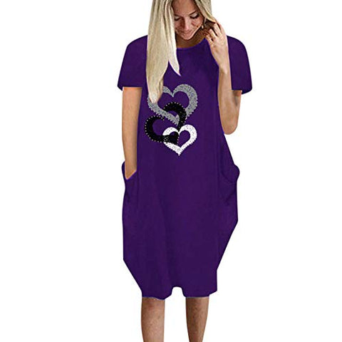 Cenglings Mini Dress,Women's Summer Round Neck Heart Print Dresses Casual Short Sleeve Loose Cotton Party Holidaye Dresses Purple