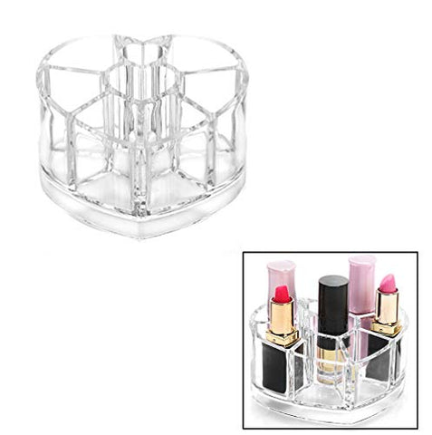 Acrylic Transparent Cosmetic Storage Box, Lipstick Eyebrow Brush Container, Makeup Organizer Case, Lipstick Heart Receiving Box Heart Shaped Brush Jar 8