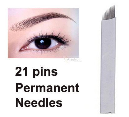 Salmonyâ® 30 Pieces 21pin Eyebrow Permanent Makeup Needle 3 D Manual Tattoo Microblading Sloped Blade