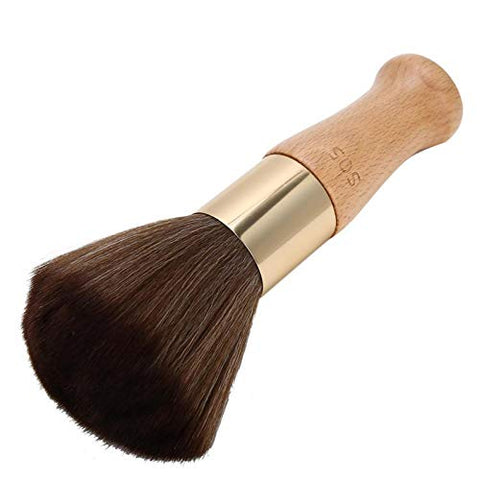 with Wooden Handle Neck Duster Brush Styling Salon Tool Durable for Barber for Makeup for Hairdressers for Beauty(Wood color)