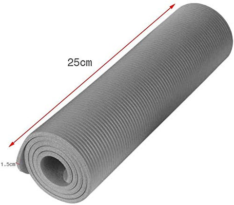 All-Purpose Yoga Mat- Extra Thick High Density Anti-Tear Fitness Exercise Yoga Mat with Carrying Strap Non Slip Excercise Sports Mat for Yoga for Men & Women (Gray)