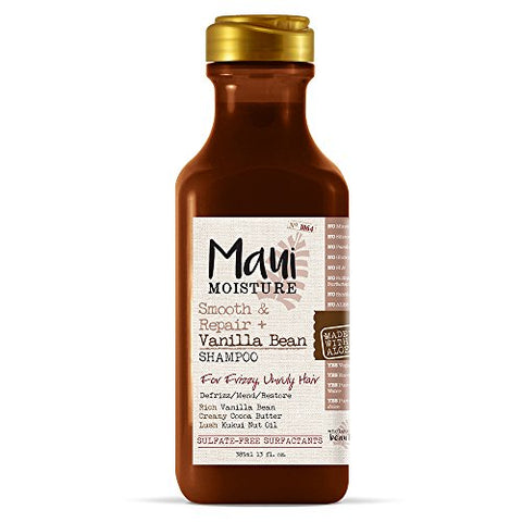 Maui Moisture Smooth & Repair + Vanilla Bean Shampoo, 13 Ounce, Hydrating And Creamy Sulfate Free Sh
