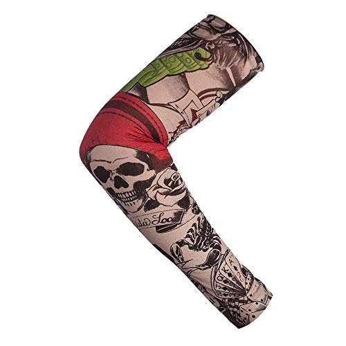 12 PCS Tattoo Sleeves for Men Women Seamless Arm Sleeves?Fake Temporary Tattoos Cover Up Sleeves for Outdoor Sunscreen Riding Cycling Elbow Braces Halloween
