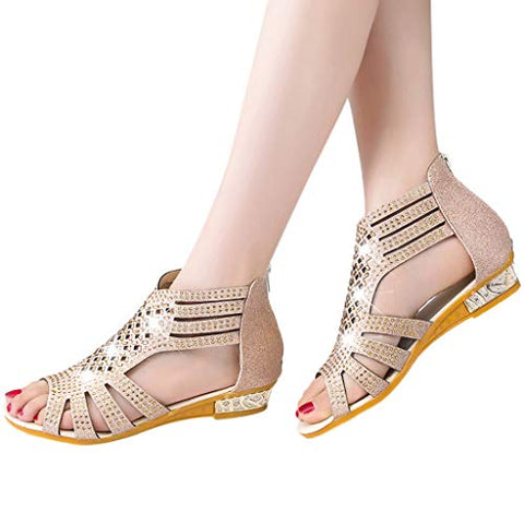 Xinantime Womens Ladies Wedge Sandals Fashion Crystal Bling Hollow Out Roman Shoes (Beige,37)
