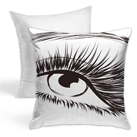 Simple and Modern Double-Sided Pillowcase (Including Pillow Core), Invisible Zip Eyelash Lovely Eye Long Eyelashes Lash Extension Eyebrow Beauty Realistic