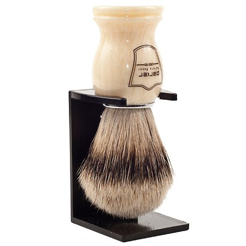 Parker Safety Razor 100% Silvertip Badger Bristle Shaving Brush (Faux Ivory) & Free Shaving Brush St