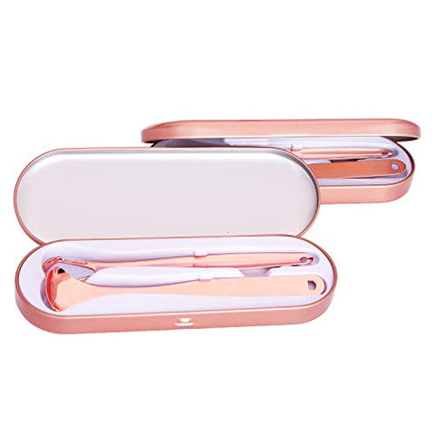 Tongue Scraper Stainless Steel Fresh Breath Tongue Cleaners Oral Care Tool with Metal Carry Case (2pcs rose gold)