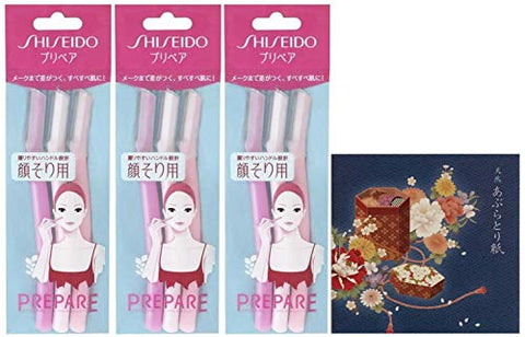 PREPARE Shiseido Facial Razor for Women, Pack of 3 (3 pieces x 3 packs) Total 9 pieces- Includes Original Oil Blotting Paper - You just need to touch it gently?Our Original Washi Package??KaitoHako?
