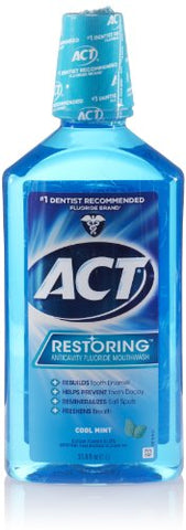 ACT Restoring Anti-Cavity Fluoride Mouthwash, Cool Mint, 33.8 oz