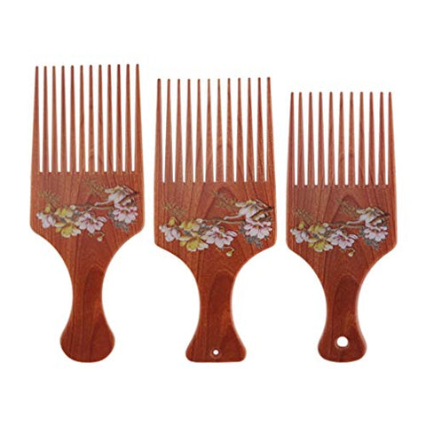 Lurrose 3pcs Hair Comb Chinoiserie Retro Flower Pattern Smooth Picks Comb Anti-Static Hair Clips Massage Comb Hair Accessories S M L