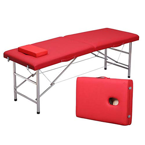 LJHA Massage Bed, Beauty Bed with Headrest Parallel Bars Folding Portable Household Tattoo Bed, 6 Colors massage table (color : B)