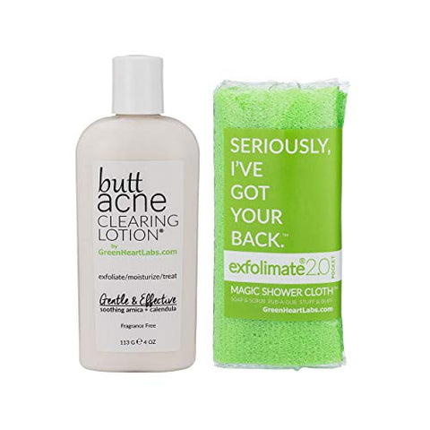 Brilliant Booty Kit | Butt Acne Clearing Lotion and ExfoliMATE Magic Body Exfoliating Cloth for Soft & Young Skin (Green)