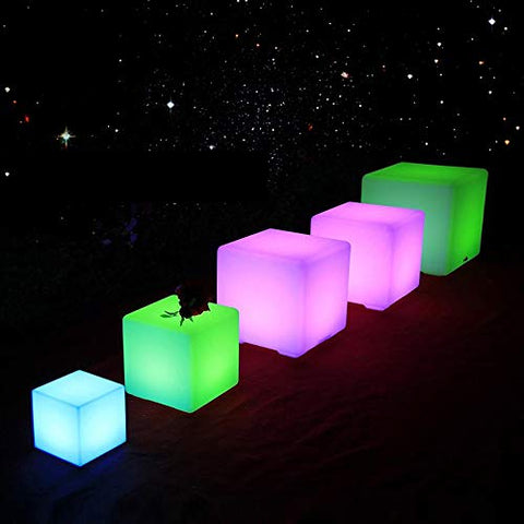 Paddia Fashion Chargeable Waterproof Outdoor Light Up LED Cube Stool Illuminate Creative Bar Garden Chair Remote Control Discoloration Sofa Cafe Household Bedside Seat (Size : 151515cm)