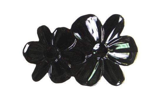 CARAVAN DOUBLE FLOWER BARRETTE BLACK