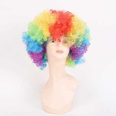 Halloween European And American Wigs Kids Rainbow Head Set Explosive Head Cosplay Costume Dysmodancing Clown Party