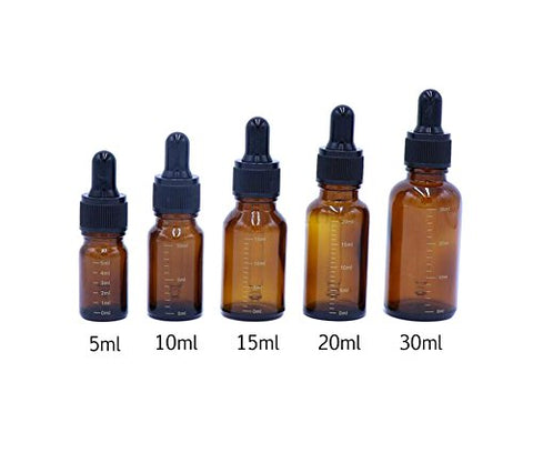 6PCS Brown Glass Essential Oil Sample Packing Vials Graduated Scale Dropper Bottles with Black Dropper Cap Cosmetic Elite Fluid Storage Holder Container Makeup Jar Pot DIY Beauty Tool (20ml/0.7oz)
