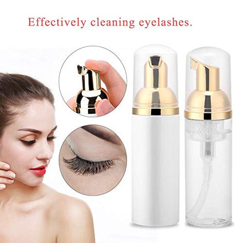 60ml Professional Eye Lashes Foam Cleaner Individual Eyelash Extension Cleanser Shampoo Eyelashes Detergent Makeup Remover, 2-Pack (transparent)