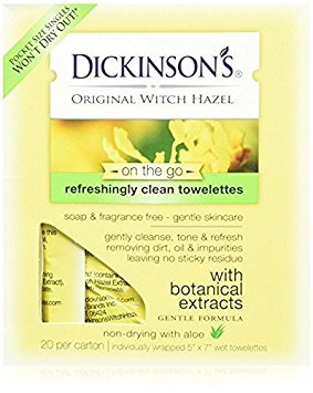 Dickinson's Original Witch Hazel Towelettes 20 Count per Pack (2 Pack)