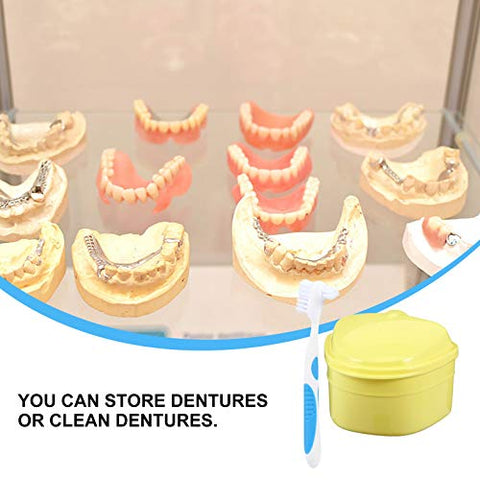 HEALLILY Denture Case Dentures Box with Denture Brush Retainer Case Denture Cups Bath Dentures Container with Strainer Denture Holder for Travel Retainer Cleaning Case Yellow
