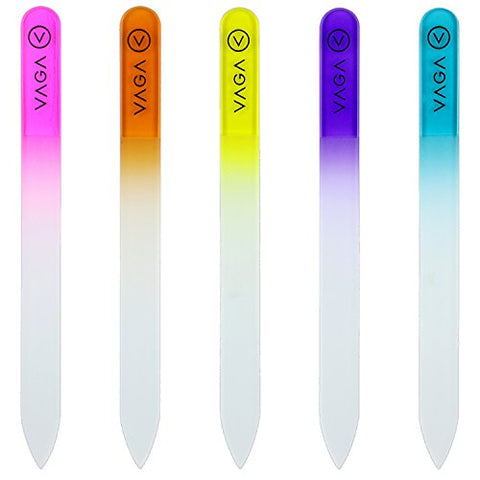 Vaga Premium Set Of 5 Crystal Nail Files Rainbow Colors In A Pouch   Best Glass Nail Files For Natur
