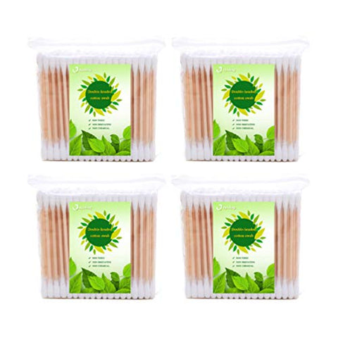 Exceart 4 Bag Disposable Cotton Swabs Dual End Cosmetic Cotton Stick Highly Absorbent Cotton Buds Hand Care Products for Travel Home (200pcs for One Bag)