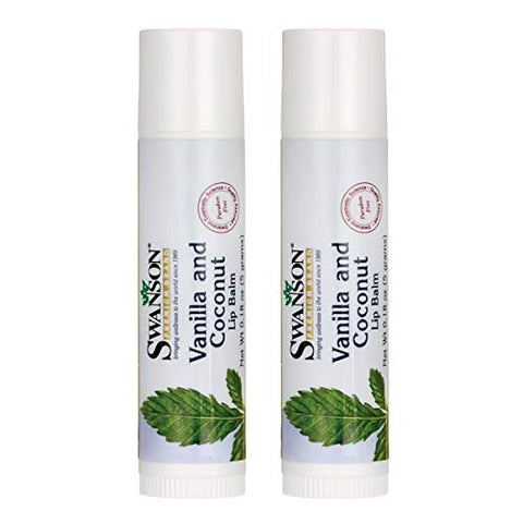 Swanson Vanilla and Coconut Lip Balm 0.18 Ounce (5 g) Balm (2 Pack)