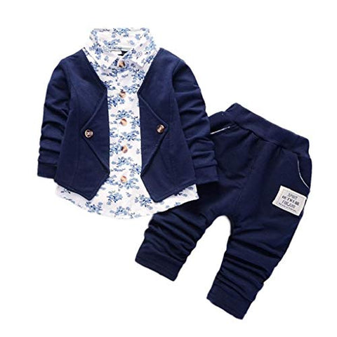 terbklf Kid Baby Boys Fall Winter Gentry Clothing Set Formal Party Christening Wedding Tuxedo Pants Suit Dark Blue