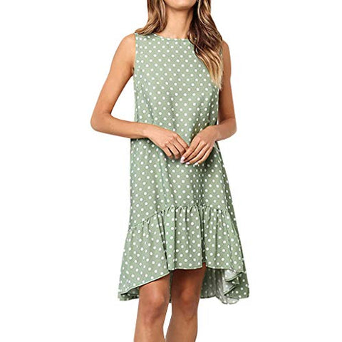 KASAAS Vintage Polka Dots Print Dress for Women Sleeveless Crewneck Pleated Hem Casual Mini Dresses(Small,Green)
